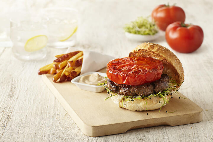 SUNSET Tomato of YORE Bruleed Broiled Burger.jpg