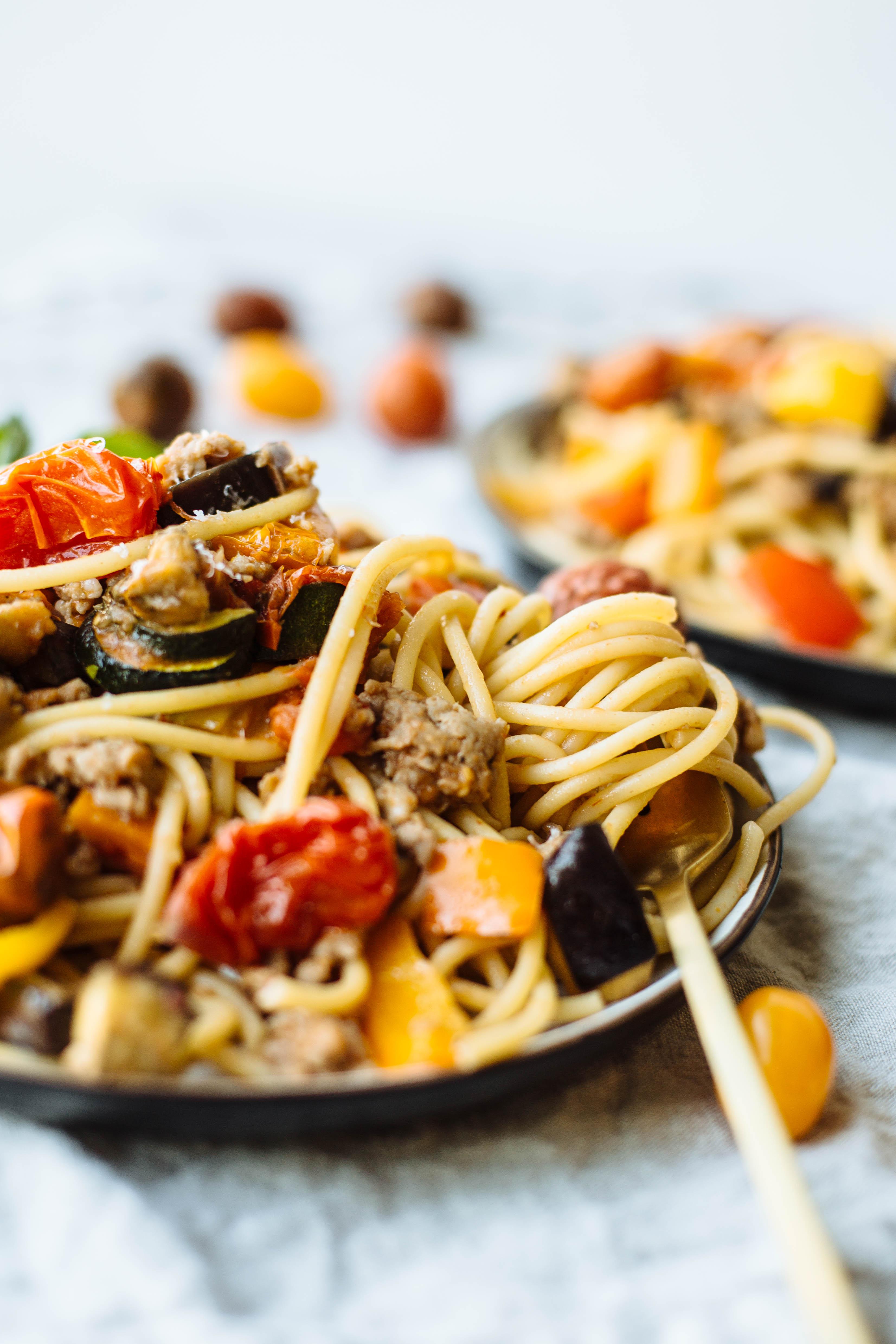 Pepper, Eggplant and Tomato Pasta Recipe