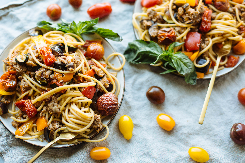 Sweet Pepper, Eggplant and Tomato Pasta Recipe
